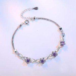 NEW 925 Sterling Silver Purple Zircon Bracelet